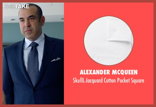 Alexander McQueen white square from Suits seen with  Louis Litt (Rick Hoffman)