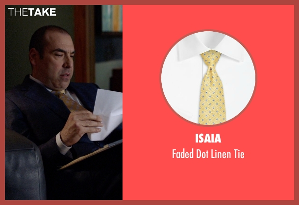 Isaia yellow tie from Suits seen with  Louis Litt (Rick Hoffman)
