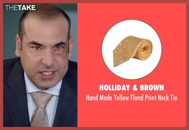 Holliday & Brown yellow tie from Suits seen with  Louis Litt (Rick Hoffman)