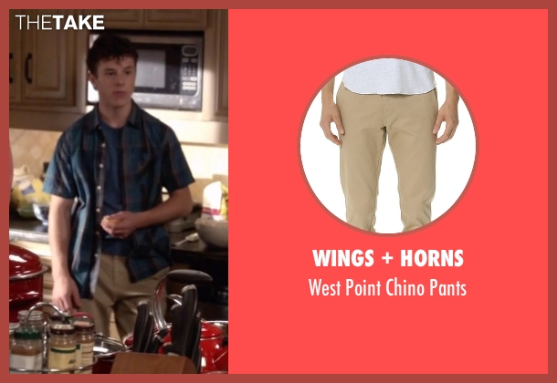 Wings + Horns beige pants from Modern Family seen with  Luke Dunphy (Nolan Gould)