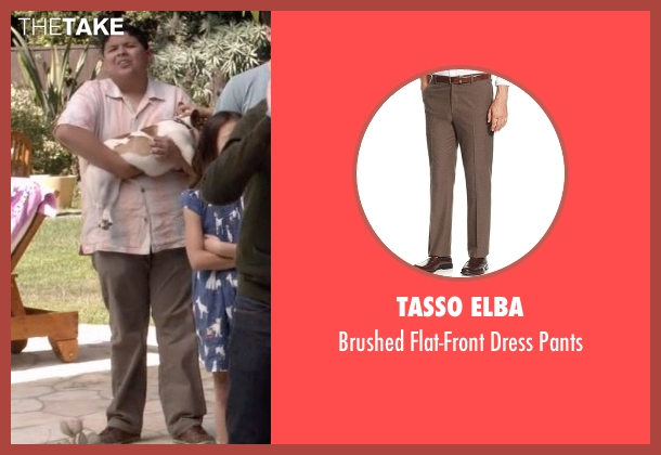 Tasso Elba brown pants from Modern Family seen with  Manny Delgado  (Rico Rodriguez)