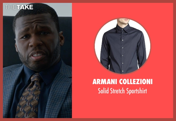Armani Collezioni blue sportshirt from Southpaw seen with 50 Cent (Unknown Character)