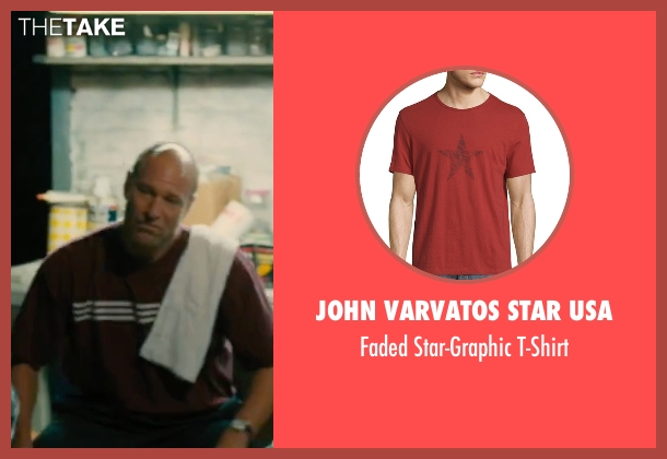 John Varvatos Star USA red t-shirt from Bleed for This seen with Aaron Eckhart (Kevin Rooney)