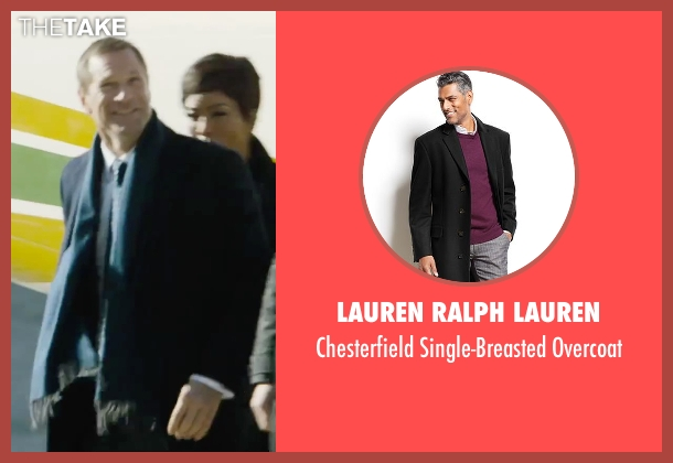 Lauren Ralph Lauren black overcoat from London Has Fallen seen with Aaron Eckhart (Benjamin Asher)