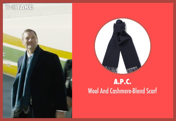 A.P.C. blue scarf from London Has Fallen seen with Aaron Eckhart (Benjamin Asher)