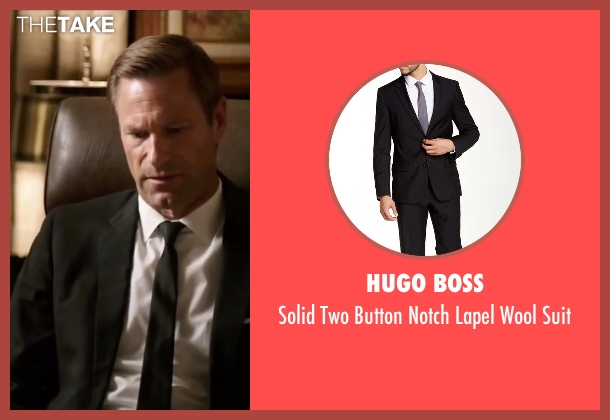 Hugo Boss black suit from My All American seen with Aaron Eckhart (Darrell Royal)