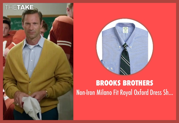 Brooks Brothers blue shirt from My All American seen with Aaron Eckhart (Darrell Royal)