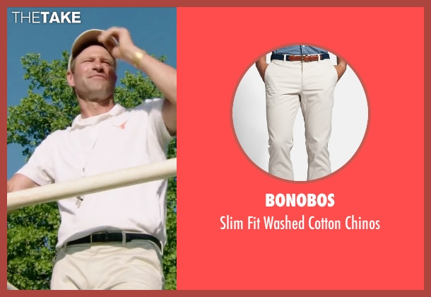Bonobos white chinos from My All American seen with Aaron Eckhart (Darrell Royal)