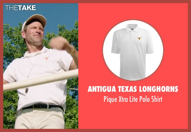 Antigua Texas Longhorns white shirt from My All American seen with Aaron Eckhart (Darrell Royal)
