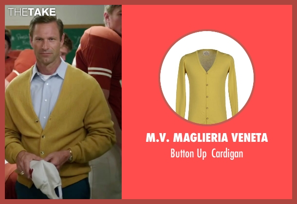 M.V. Maglieria Veneta yellow cardigan from My All American seen with Aaron Eckhart (Darrell Royal)