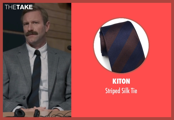Kiton blue tie from Sully seen with Aaron Eckhart (Jeff Skiles)