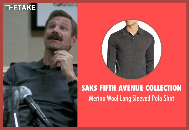 Saks Fifth Avenue Collection gray shirt from Sully seen with Aaron Eckhart (Jeff Skiles)