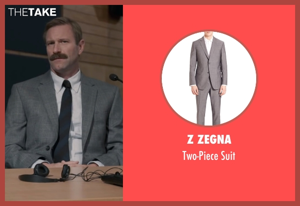 Z Zegna gray suit from Sully seen with Aaron Eckhart (Jeff Skiles)