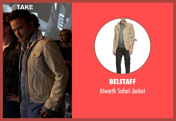Belstaff beige jacket from Need for Speed seen with Aaron Paul (Tobey Marshall)