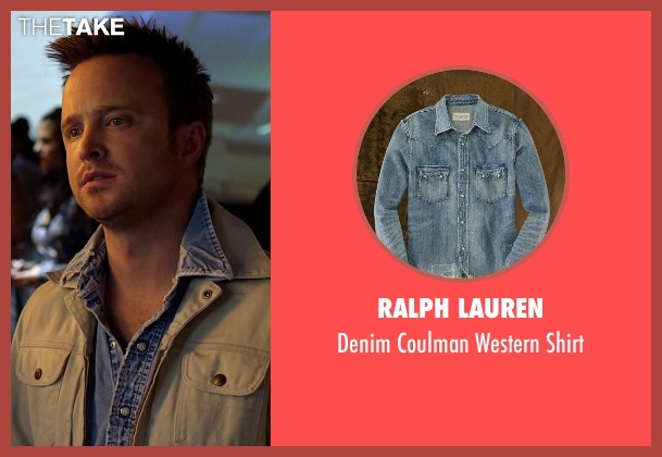 Ralph Lauren blue shirt from Need for Speed seen with Aaron Paul (Tobey Marshall)