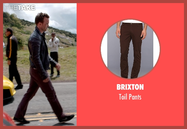 Brixton brown pants from Need for Speed seen with Aaron Paul (Tobey Marshall)