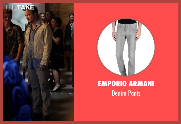 Emporio Armani gray pants from Need for Speed seen with Aaron Paul (Tobey Marshall)