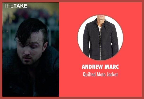 Andrew Marc black jacket from Triple 9 seen with Aaron Paul (Michael Laird)