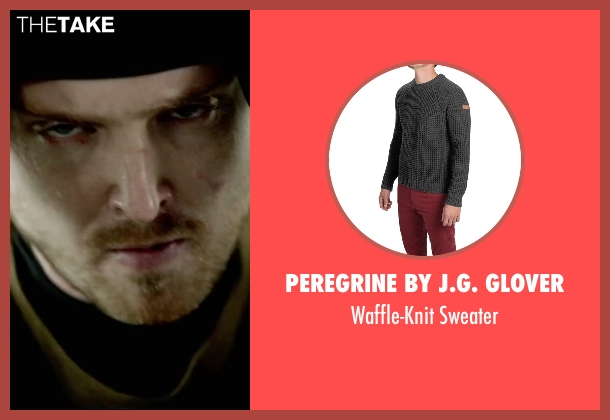 Peregrine By J.G. Glover gray sweater from Triple 9 seen with Aaron Paul (Michael Laird)