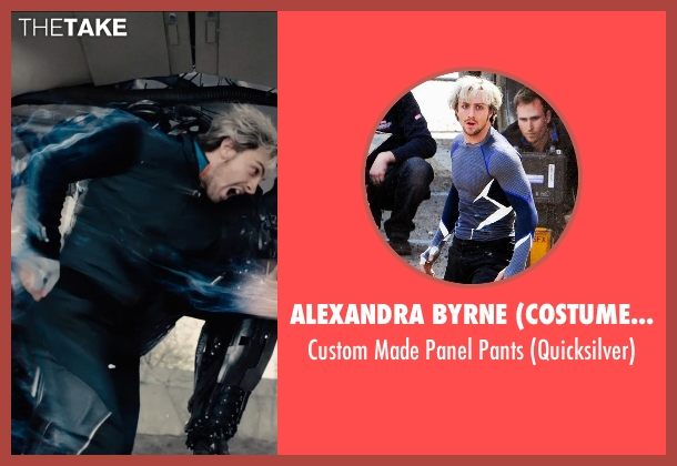 Alexandra Byrne (Costume Designer) black pants from Avengers: Age of Ultron seen with Aaron Taylor-Johnson (Pietro Maximoff / Quicksilver)