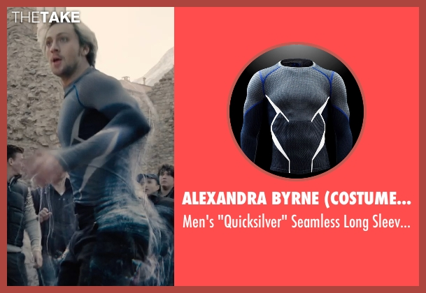 Alexandra Byrne (Costume Designer) and Under Armour gray shirt from Avengers: Age of Ultron seen with Aaron Taylor-Johnson (Pietro Maximoff / Quicksilver)