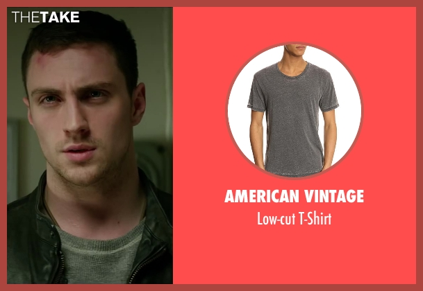 AMERICAN VINTAGE gray t-shirt from Godzilla seen with Aaron Taylor-Johnson (Ford Brody)