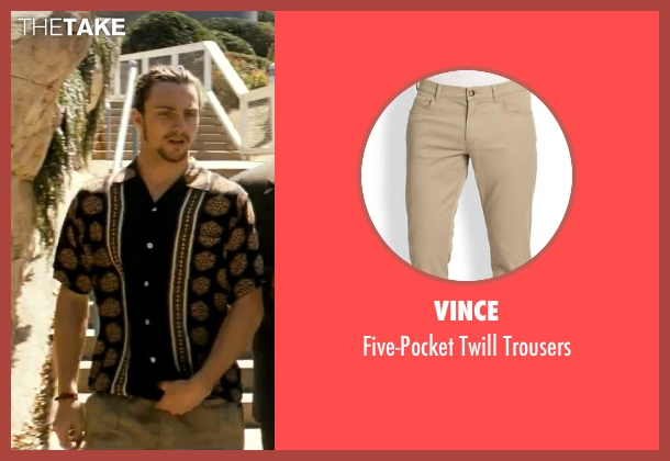Vince beige trousers from Savages seen with Aaron Taylor-Johnson (Ben)