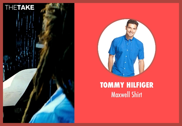 Tommy Hilfiger blue shirt from Savages seen with Aaron Taylor-Johnson (Ben)