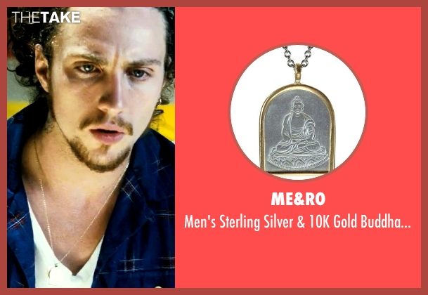 Me&Ro gold pendant from Savages seen with Aaron Taylor-Johnson (Ben)