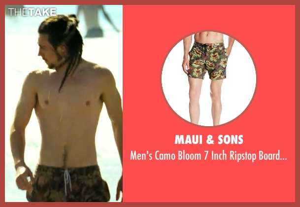 Maui & Sons green boardshort from Savages seen with Aaron Taylor-Johnson (Ben)
