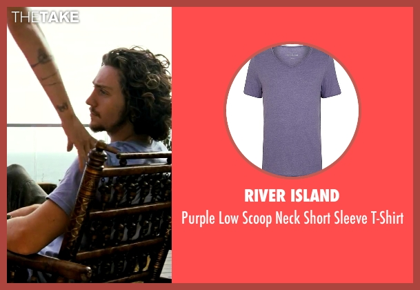 River Island purple t-shirt from Savages seen with Aaron Taylor-Johnson (Ben)