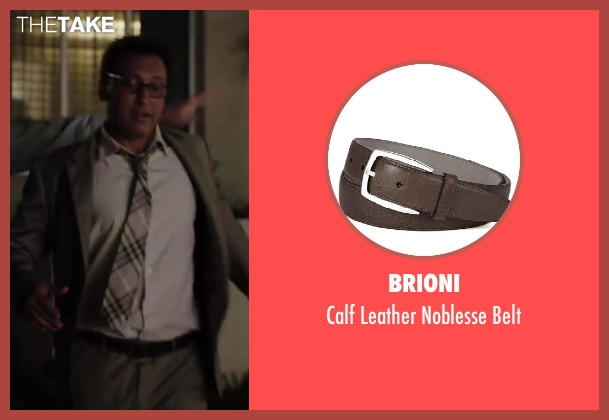 Brioni brown belt from Million Dollar Arm seen with Aasif Mandvi (Aash)