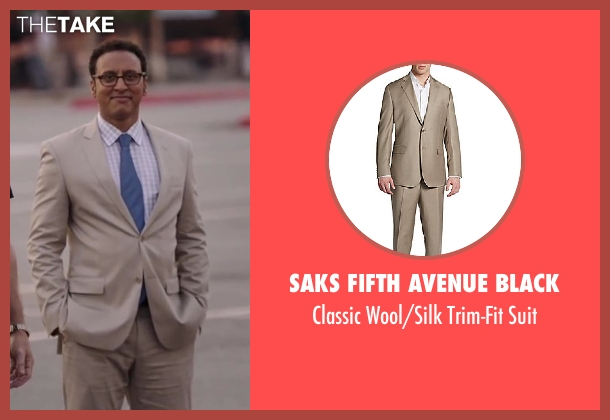 Saks Fifth Avenue BLACK brown suit from Million Dollar Arm seen with Aasif Mandvi (Aash)