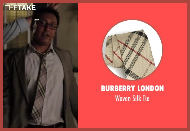 Burberry London brown tie from Million Dollar Arm seen with Aasif Mandvi (Aash)