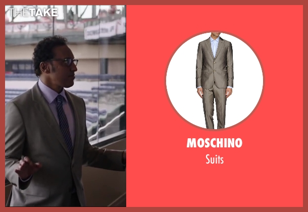 MOSCHINO gray suits from Million Dollar Arm seen with Aasif Mandvi (Aash)