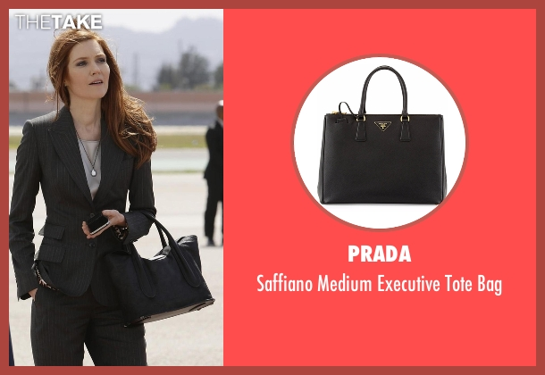 Prada black bag from Scandal seen with Abby Whelan (Darby Stanchfield)