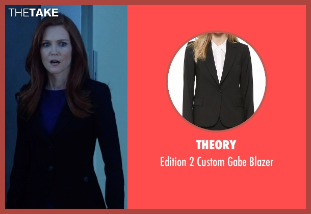 Theory black blazer from Scandal seen with Abby Whelan (Darby Stanchfield)