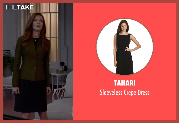 Tahari black dress from Scandal seen with Abby Whelan (Darby Stanchfield)