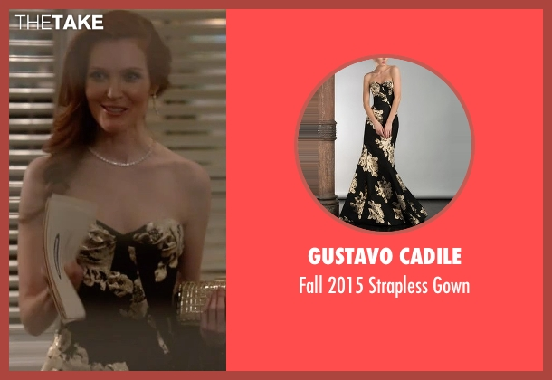 Gustavo Cadile black gown from Scandal seen with Abby Whelan (Darby Stanchfield)