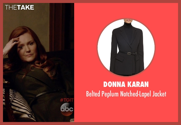 Donna Karan black jacket from Scandal seen with Abby Whelan (Darby Stanchfield)