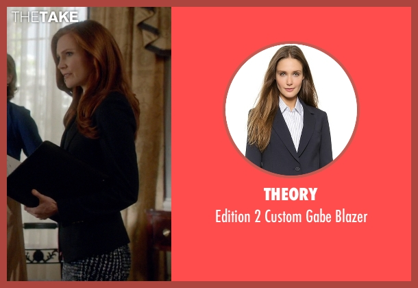 Theory blue blazer from Scandal seen with Abby Whelan (Darby Stanchfield)