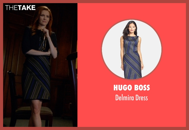 Hugo Boss blue dress from Scandal seen with Abby Whelan (Darby Stanchfield)