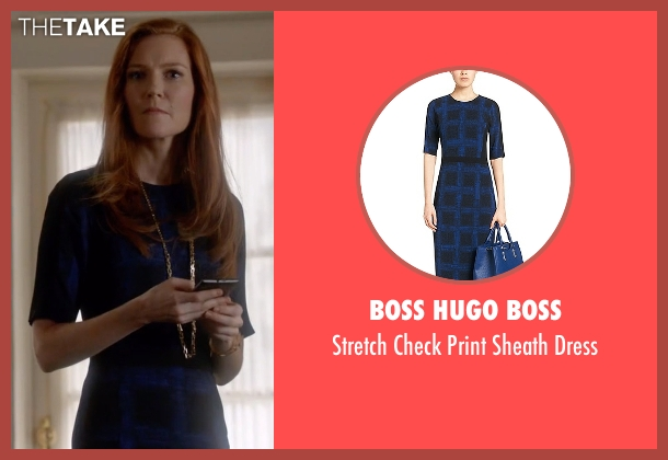 Boss Hugo Boss blue dress from Scandal seen with Abby Whelan (Darby Stanchfield)