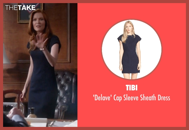 Tibi blue dress from Scandal seen with Abby Whelan (Darby Stanchfield)