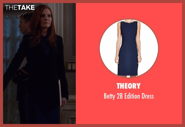 Theory blue dress from Scandal seen with Abby Whelan (Darby Stanchfield)