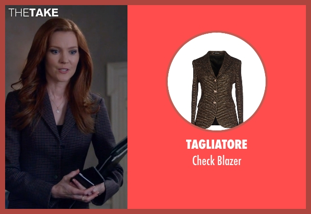 Tagliatore brown blazer from Scandal seen with Abby Whelan (Darby Stanchfield)