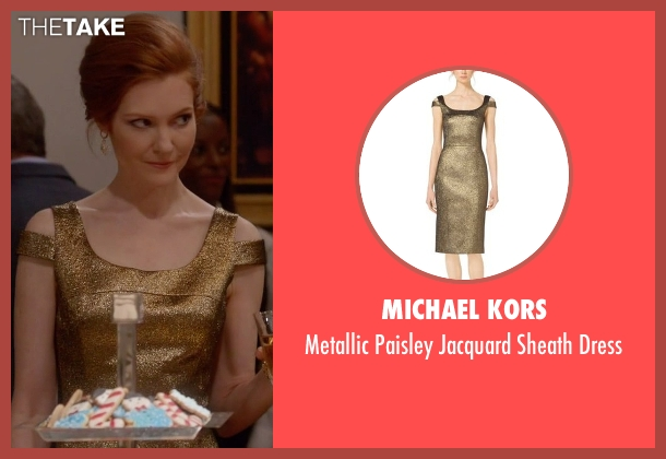 Michael Kors gold dress from Scandal seen with Abby Whelan (Darby Stanchfield)