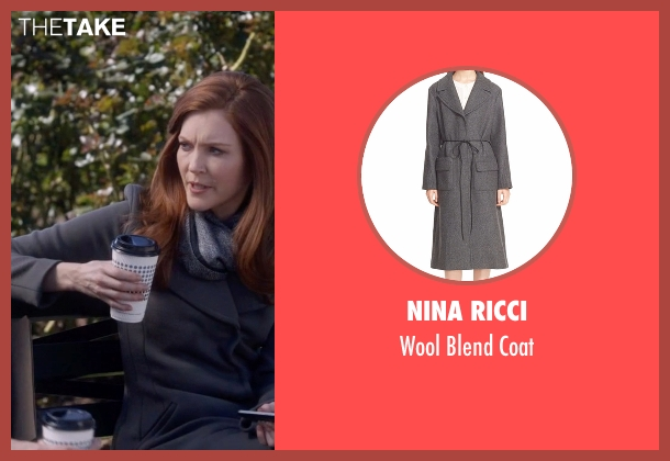 Nina Ricci gray coat from Scandal seen with Abby Whelan (Darby Stanchfield)