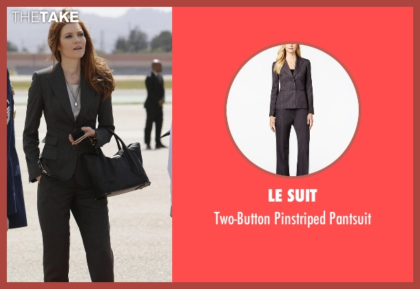 Le Suit gray pantsuit from Scandal seen with Abby Whelan (Darby Stanchfield)