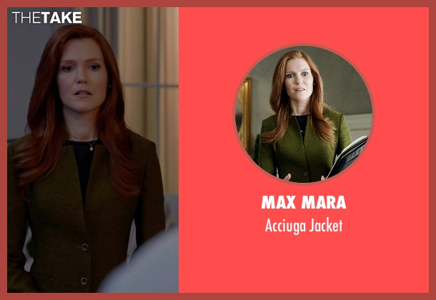 Max Mara green jacket from Scandal seen with Abby Whelan (Darby Stanchfield)